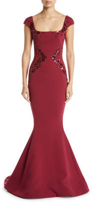 Zac Posen Square-Neck Cap-Sleeve Trumpet Evening Gown w/ Paillette Embroidery