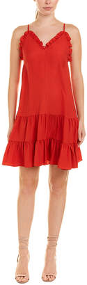 Rebecca Taylor Ruffle-Trim Silk Slip Dress