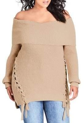 City Chic Plus Twine Up Sweater