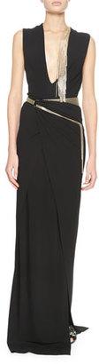 Lanvin Metal-Fringe Deep-V Gown, Black $2,820 thestylecure.com