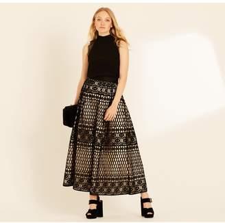 Amanda Wakeley Black & Oyster Graphic Guipure Skirt