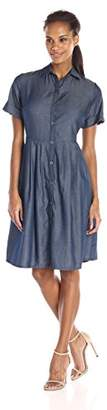Amy Byer Women's Short-Sleeve Contemporary Dress with Tucks
