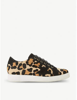Dune Edris leopard-print ponyhair and leather trainers