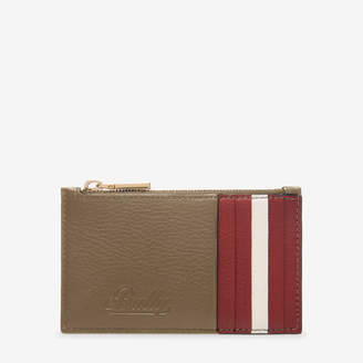 Bally Tandy Brown, Women's grained bovine leather card holder in caki
