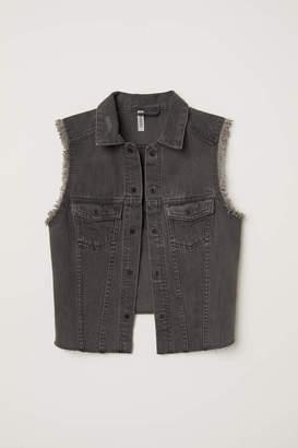 H&M Embroidered Denim Vest - Dark gray denim - Women
