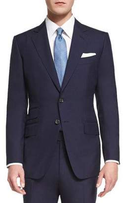 Tom Ford O'Connor Base Plain-Weave Sharkskin Two-Piece Suit, Bright Navy