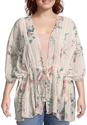 Boutique + + Tie Front Short Floral Kimono - Plus