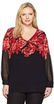 Calvin Klein Women's Plus Size Flare Sleeve V-Neck