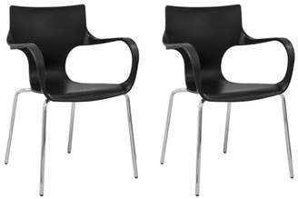 Mod Made Phin Plastic Modern Dining Side Chair-Set of 2 (Black)