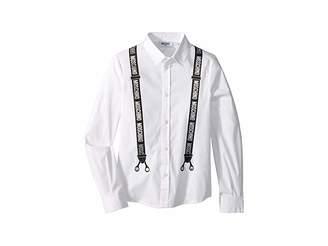 Moschino Kids Logo Suspender Graphic Button Up Shirt (Big Kids)