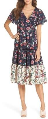 Eliza J Flutter Sleeve Tiered Fit & Flare Dress