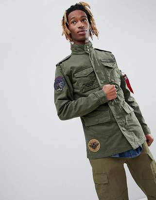 Alpha Industries Huntington Patch M65 Jacket Badge Detail In Green