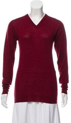 Chanel V-Neck Cashmere Sweater Red V-Neck Cashmere Sweater