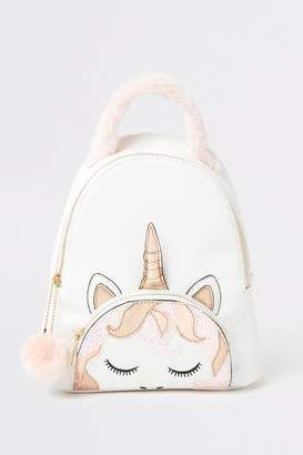 River Island Girls White Unicorn Rucksack - White