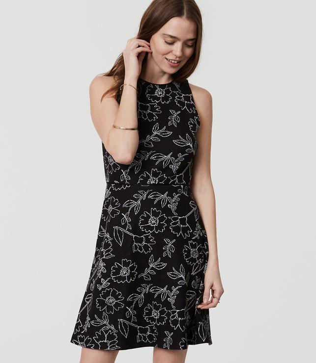 Sketched Floral Flare Dress