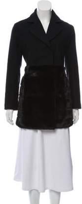 Co Mink-Trimmed Wool Coat Black Mink-Trimmed Wool Coat