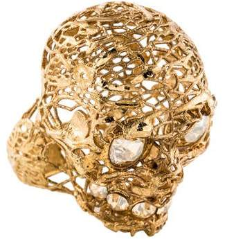 Alexander McQueen Crystal Filigree Skull Ring