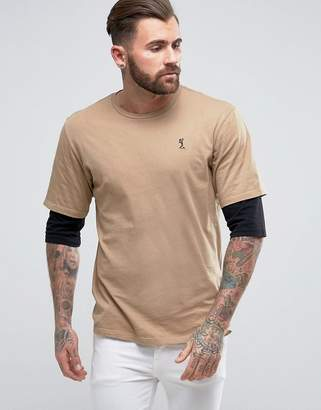 Religion T-Shirt With Layered Sleeve