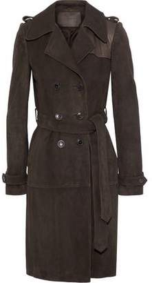 Magda Butrym Kansas City Leather-Paneled Suede Trench Coat