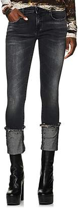 R 13 Women's Kate Mid-Rise Cuffed Skinny Jeans - Black
