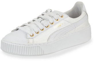 Puma Basket Pearlized Leather Low-Top Sneaker $110 thestylecure.com