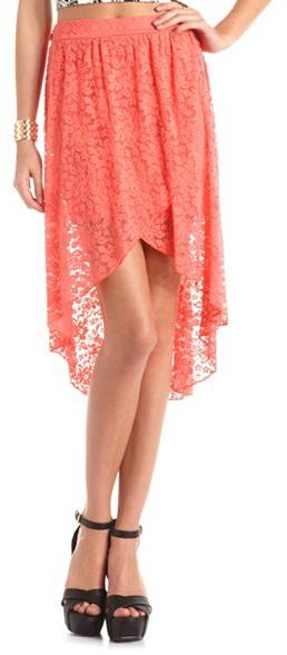 Charlotte Russe Draped Floral Lace Hi-Low Skirt