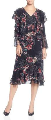 Catherine Malandrino Western Floral Ruffle Dress