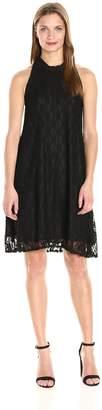 Star Vixen Women's Sleeveless Cutaway Shoulder Mock Neck Keyhole Back Dress, M