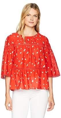 Ella Moon Women's Standard Lace Insert Trimmed Top