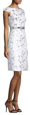 Michael Kors Belted Palm Brocade Dress