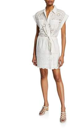 Veronica Beard Bettina Eyelet Tie-Front Short-Sleeve Dress