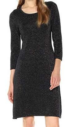 Nine West Women's 3/4 Sleeve Metallic A-line Dress