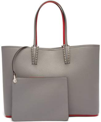 Christian Louboutin Cabata Spike Embellished Leather Tote - Womens - Light Grey
