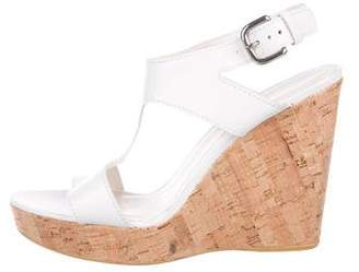Stuart Weitzman Leather Buckle-Accented Wedges