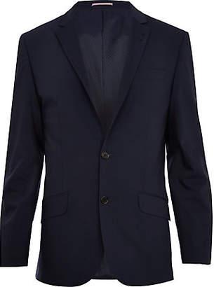River Island Mens Navy blue wool-blend slim suit jacket