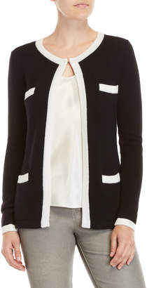 Qi Contrast Trim Pocket Cardigan