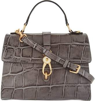 Dooney & Bourke Croco Embossed Leather Satchel Handbag -Claire