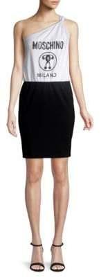 Moschino Graphic One-Shoulder Sheath Dress
