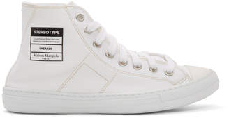 Maison Margiela White Canvas Stereotype High-Top Sneakers