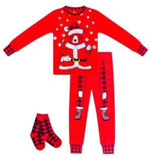 Petit Lem Little Boy's Santa Bear Three-Piece Cotton Pajama Top, Pants & Socks Set