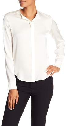 Vince Band Collar Long Sleeve Silk Blouse