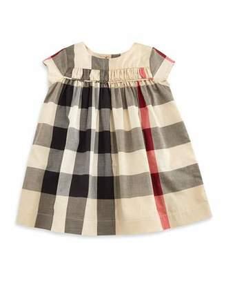 Burberry Ariadne Cap-Sleeve Check Shift Dress, Tan, Size 3M-3