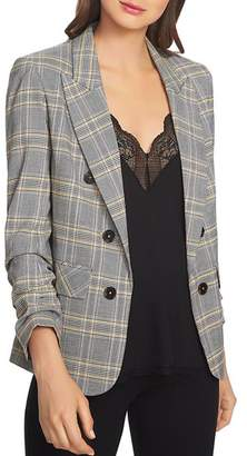 1 STATE 1.STATE Plaid Ruched-Sleeve Blazer