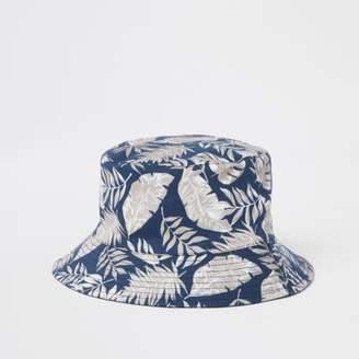 River Island Mens Navy tropical print bucket hat