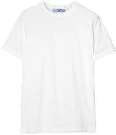 Prada - Rubber-appliquéd Cotton-jersey T-shirt - White
