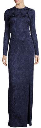 Jason Wu Long-Sleeve Floral Silk Cloque Gown, Dusk $3,495 thestylecure.com