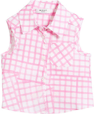 Milly Minis Tie-Back Sleeveless Check Blouse, Size 8-14