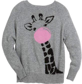 Autumn Cashmere Bubble Gum Giraffe Raglan Sweater, Size 6-14