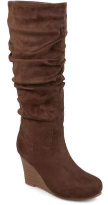 Co Brinley Women's Wide Calf Slouchy Faux Suede Mid-calf Wedge Boots