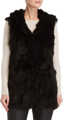 Adrienne Landau Black Real Fur Hooded Longline Vest
